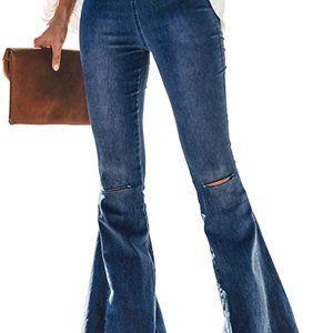 Women Bell Bottom Jeans Ripped Elastic Waist